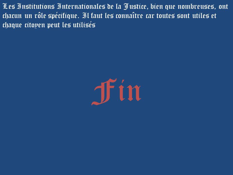 Les Institutions Internationales de la Justice, bien que nombreuses, ont chacun un rôle spécifique. Il faut les connaître car toutes sont utiles et ch