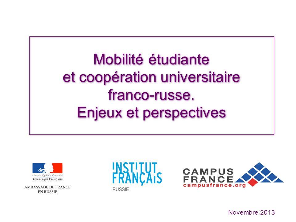 Chiffres-clés de la coopération universitaire et de la mobilité étudiante 4936 étudiants en mobilité en France (flux+ stock) en 2011-2012 (source MESR) Mobilité encadrée : 50% Environ 450 accords de coopération Environ 140 doubles diplômes (+30% en 2 ans) France: 4 e destination des étudiants russes après lAllemagne, les Etats-Unis et lUkraine