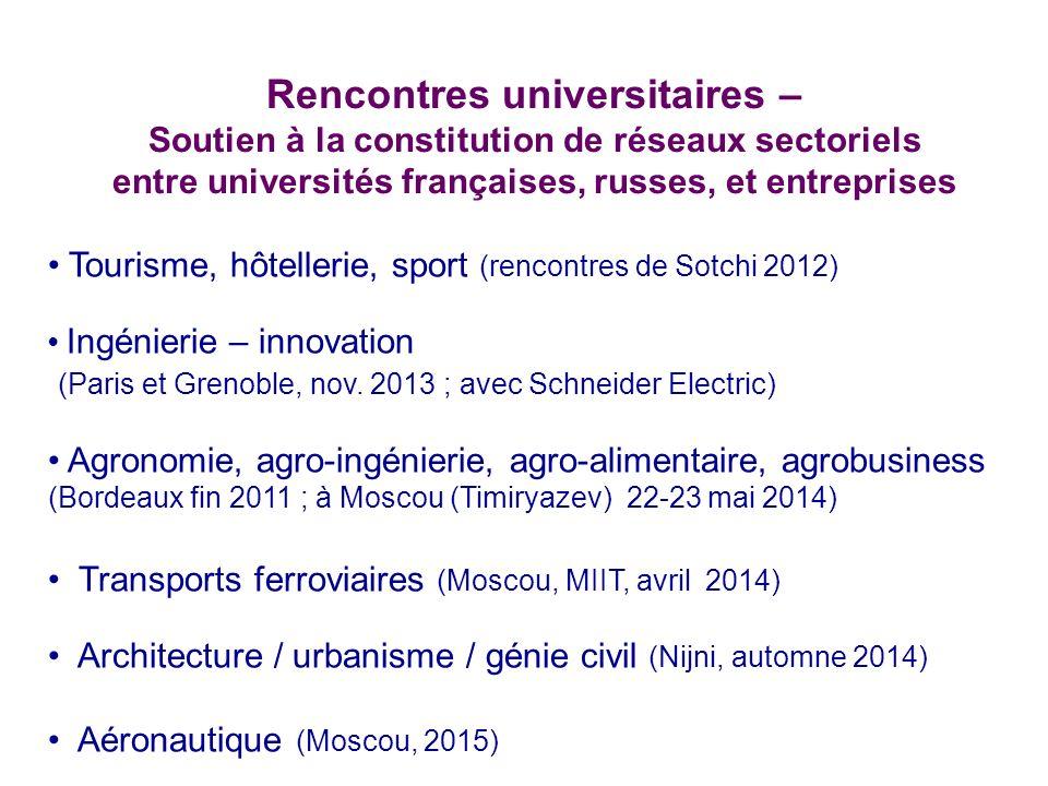 Rencontres universitaires – Soutien à la constitution de réseaux sectoriels entre universités françaises, russes, et entreprises Tourisme, hôtellerie,