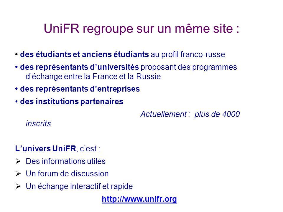 UniFR regroupe sur un même site : des étudiants et anciens étudiants au profil franco-russe des représentants duniversités proposant des programmes dé