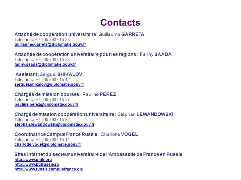 Contacts Attaché de coopération universitaire: Guillaume GARRETA Téléphone:+ 7 (495) 937 15 28 guillaume.garreta@diplomatie.gouv.fr Attachée de coopér