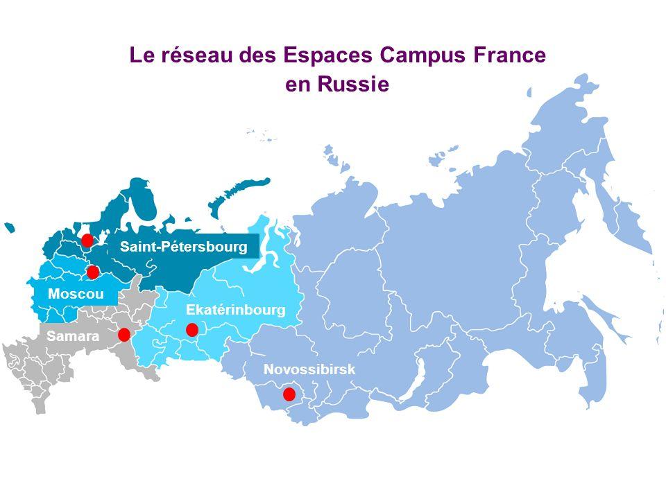 Novossibirsk Ekatérinbourg Samara Moscou Saint-Pétersbourg Le réseau des Espaces Campus France en Russie