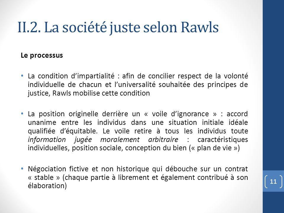 II.2. La société juste selon Rawls Le processus La condition dimpartialité : afin de concilier respect de la volonté individuelle de chacun et luniver