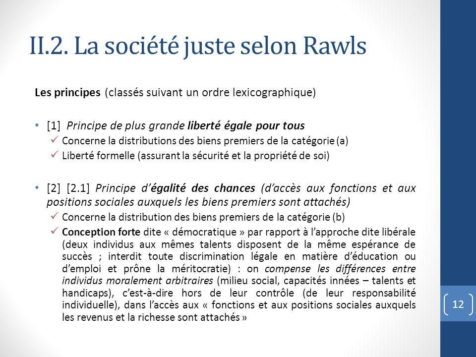 II.2. La société juste selon Rawls Les principes (classés suivant un ordre lexicographique) [1] Principe de plus grande liberté égale pour tous Concer