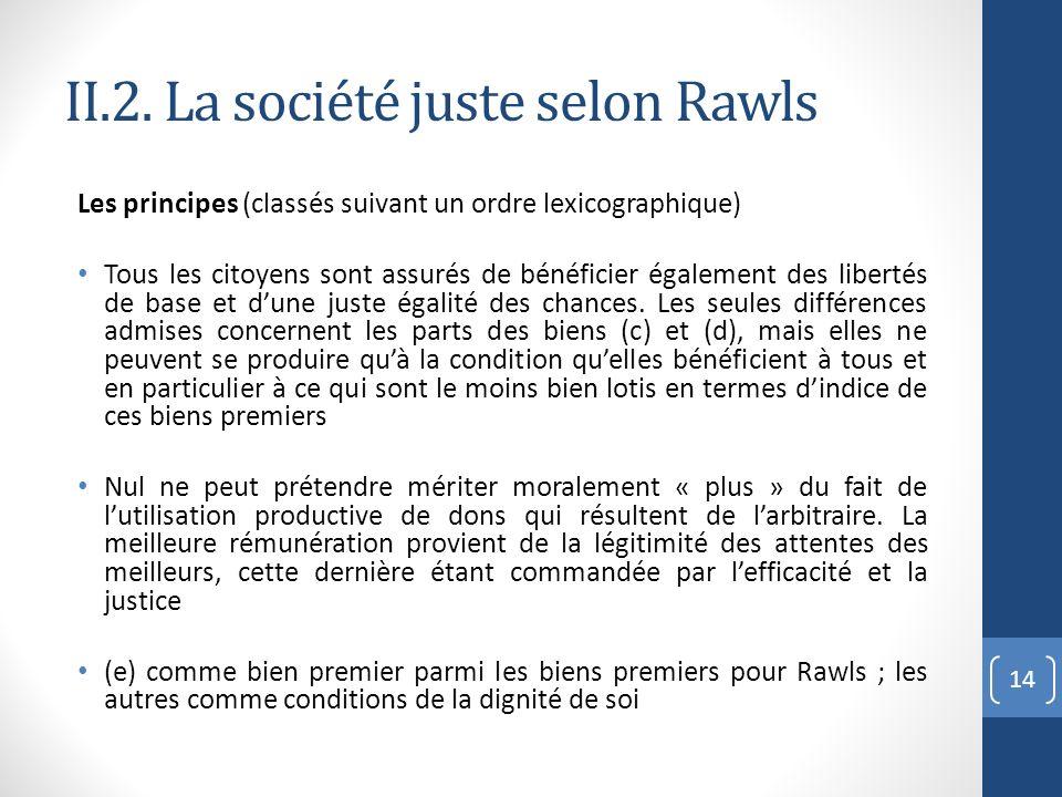 II.2. La société juste selon Rawls Les principes (classés suivant un ordre lexicographique) Tous les citoyens sont assurés de bénéficier également des