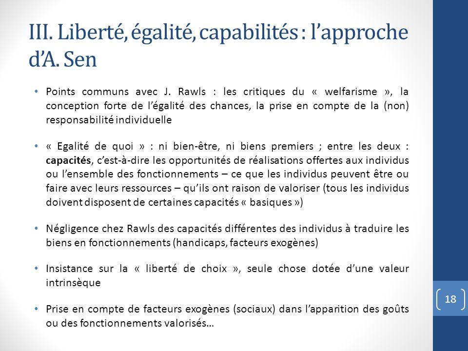III. Liberté, égalité, capabilités : lapproche dA. Sen Points communs avec J. Rawls : les critiques du « welfarisme », la conception forte de légalité