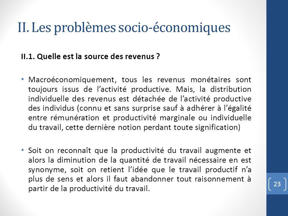 II. Les problèmes socio-économiques II.1. Quelle est la source des revenus ? Macroéconomiquement, tous les revenus monétaires sont toujours issus de l