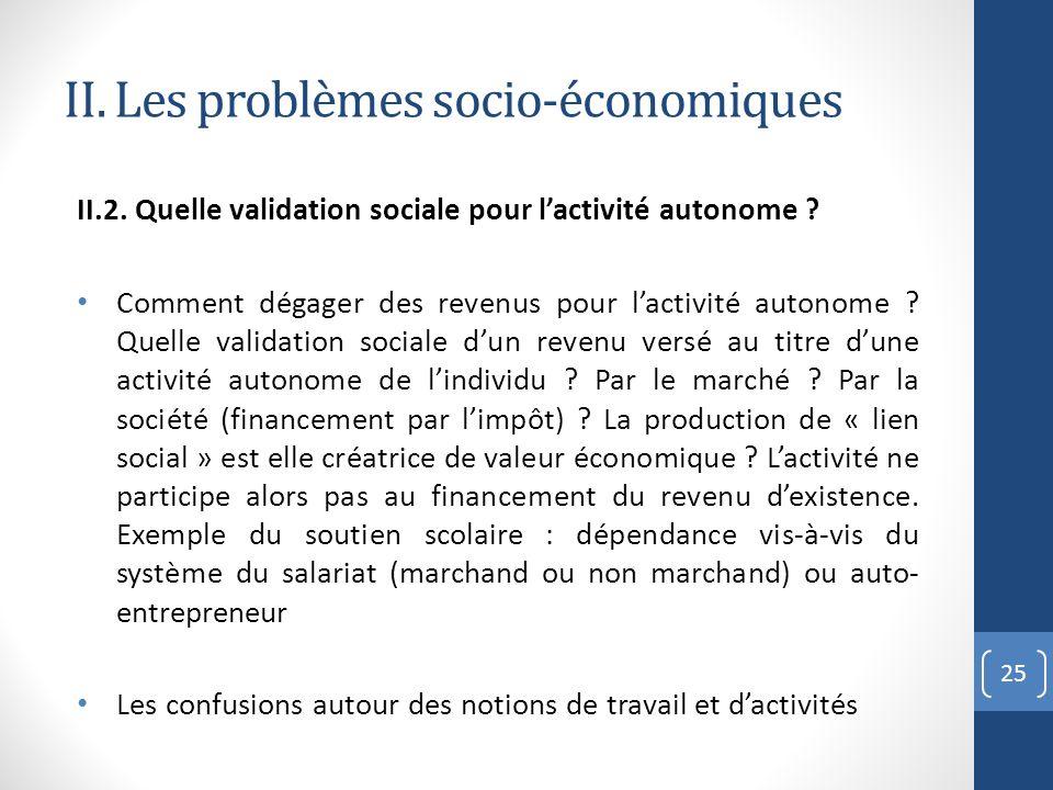 II. Les problèmes socio-économiques II.2. Quelle validation sociale pour lactivité autonome ? Comment dégager des revenus pour lactivité autonome ? Qu