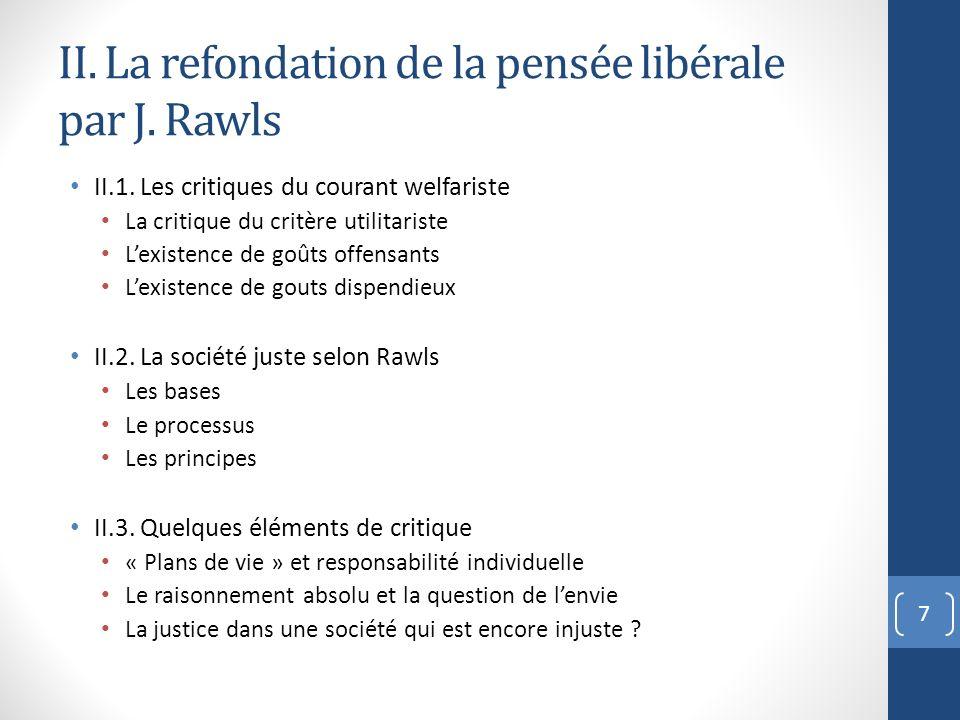II. La refondation de la pensée libérale par J. Rawls II.1. Les critiques du courant welfariste La critique du critère utilitariste Lexistence de goût