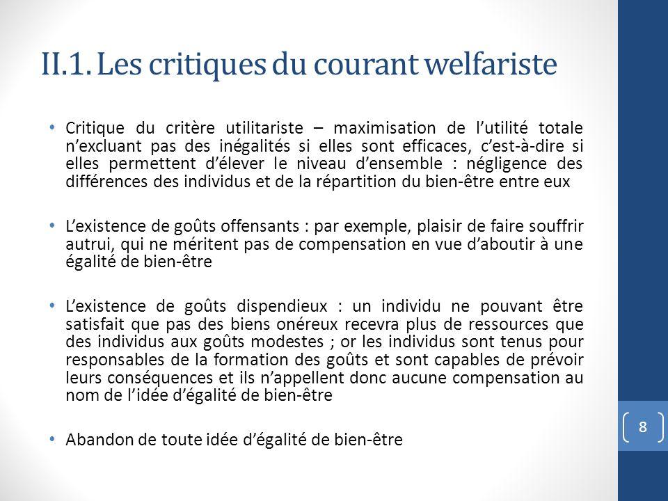 II.1. Les critiques du courant welfariste Critique du critère utilitariste – maximisation de lutilité totale nexcluant pas des inégalités si elles son