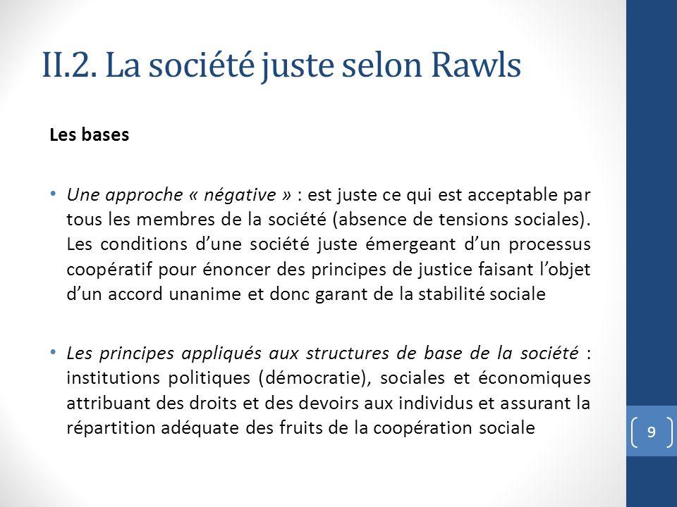 II.2. La société juste selon Rawls Les bases Une approche « négative » : est juste ce qui est acceptable par tous les membres de la société (absence d