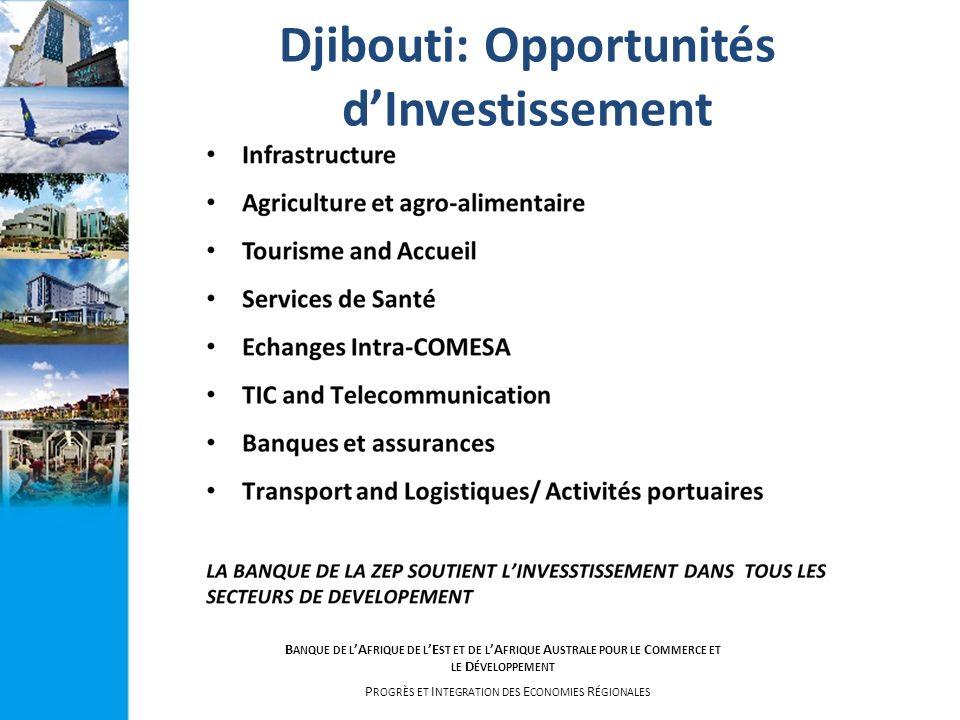 B ANQUE DE L A FRIQUE DE L E ST ET DE L A FRIQUE A USTRALE POUR LE C OMMERCE ET LE D ÉVELOPPEMENT P ROGRÈS ET I NTEGRATION DES E CONOMIES R ÉGIONALES Djibouti: Opportunités dInvestissement