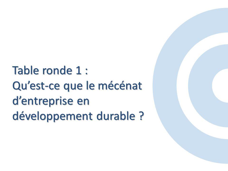 Table ronde 1 : Quest-ce que le mécénat dentreprise en développement durable
