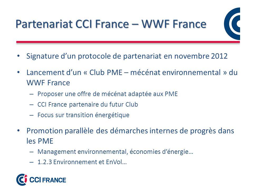 Partenariat CCI France – WWF France Signature dun protocole de partenariat en novembre 2012 Lancement dun « Club PME – mécénat environnemental » du WWF France – Proposer une offre de mécénat adaptée aux PME – CCI France partenaire du futur Club – Focus sur transition énergétique Promotion parallèle des démarches internes de progrès dans les PME – Management environnemental, économies dénergie… – 1.2.3 Environnement et EnVol…
