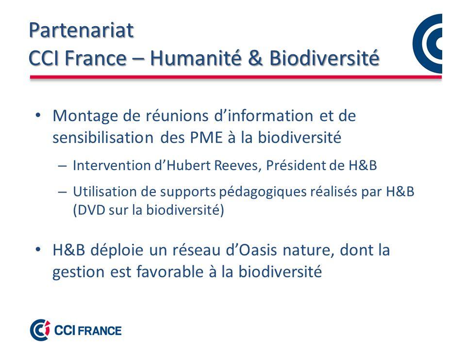 Partenariat CCI France – Humanité & Biodiversité Montage de réunions dinformation et de sensibilisation des PME à la biodiversité – Intervention dHubert Reeves, Président de H&B – Utilisation de supports pédagogiques réalisés par H&B (DVD sur la biodiversité) H&B déploie un réseau dOasis nature, dont la gestion est favorable à la biodiversité