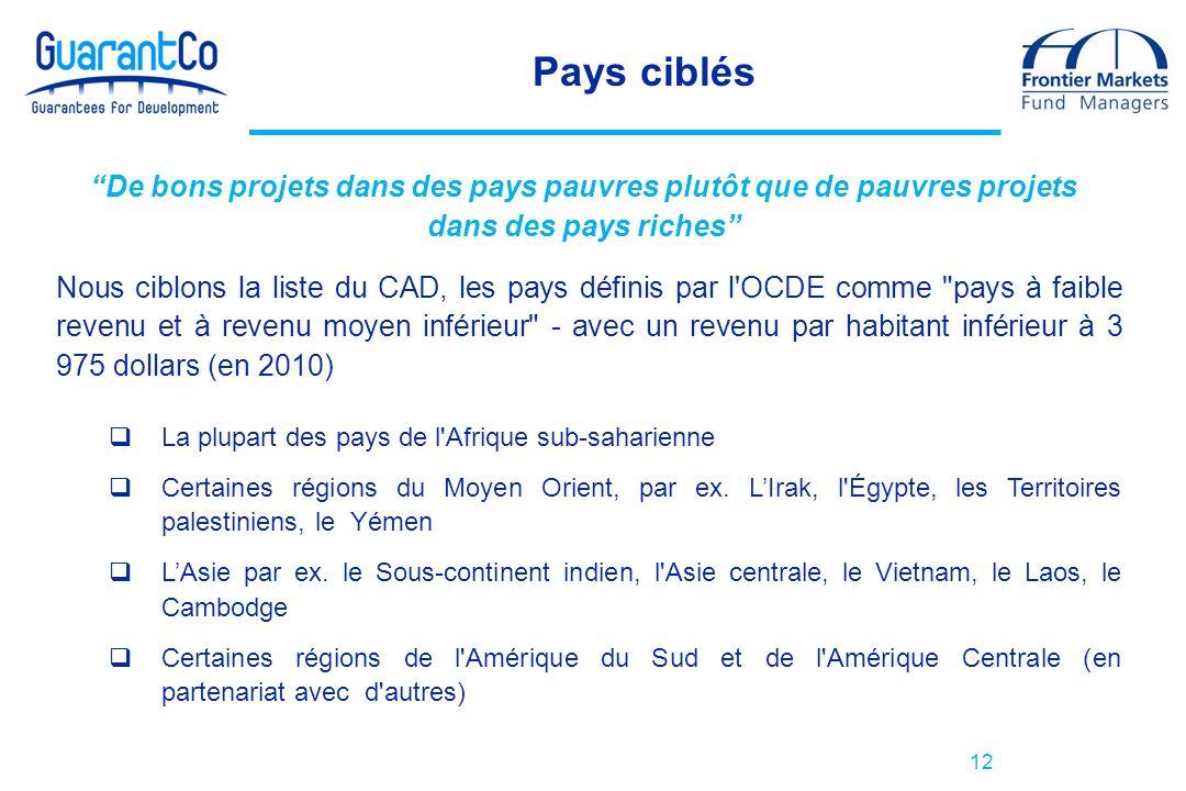 12 Pays ciblés Nous ciblons la liste du CAD, les pays définis par l OCDE comme pays à faible revenu et à revenu moyen inférieur - avec un revenu par habitant inférieur à 3 975 dollars (en 2010) La plupart des pays de l Afrique sub-saharienne Certaines régions du Moyen Orient, par ex.