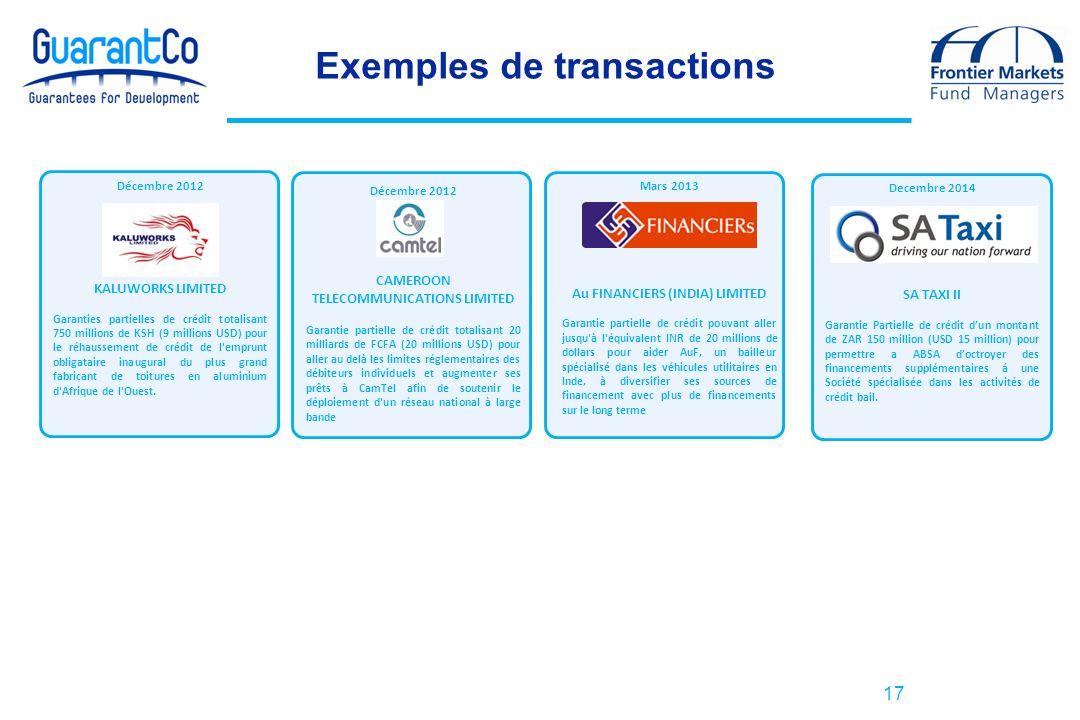 17 Exemples de transactions Décembre 2012 CAMEROON TELECOMMUNICATIONS LIMITED Garantie partielle de crédit totalisant 20 milliards de FCFA (20 million