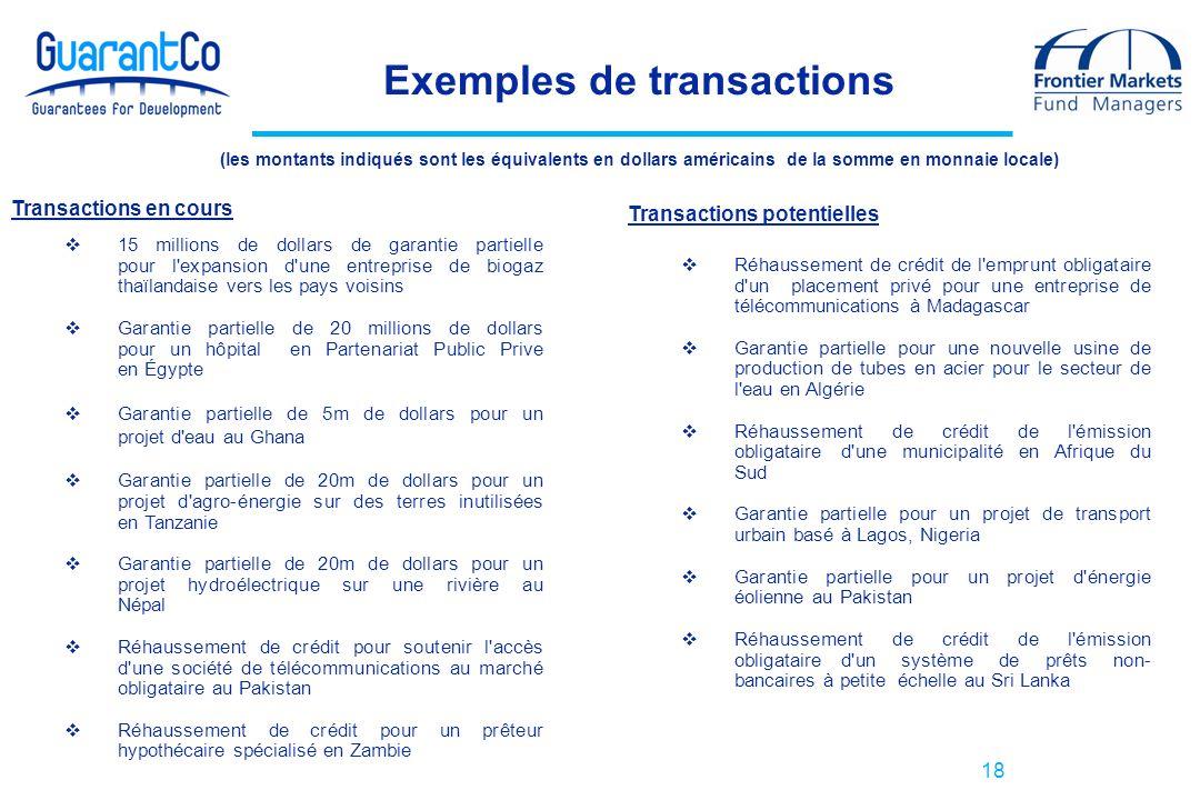 18 Transactions potentielles Réhaussement de crédit de l'emprunt obligataire d'un placement privé pour une entreprise de télécommunications à Madagasc