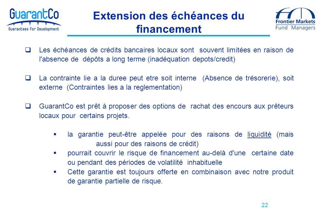22 Extension des échéances du financement Les échéances de crédits bancaires locaux sont souvent limitées en raison de l'absence de dépôts a long term