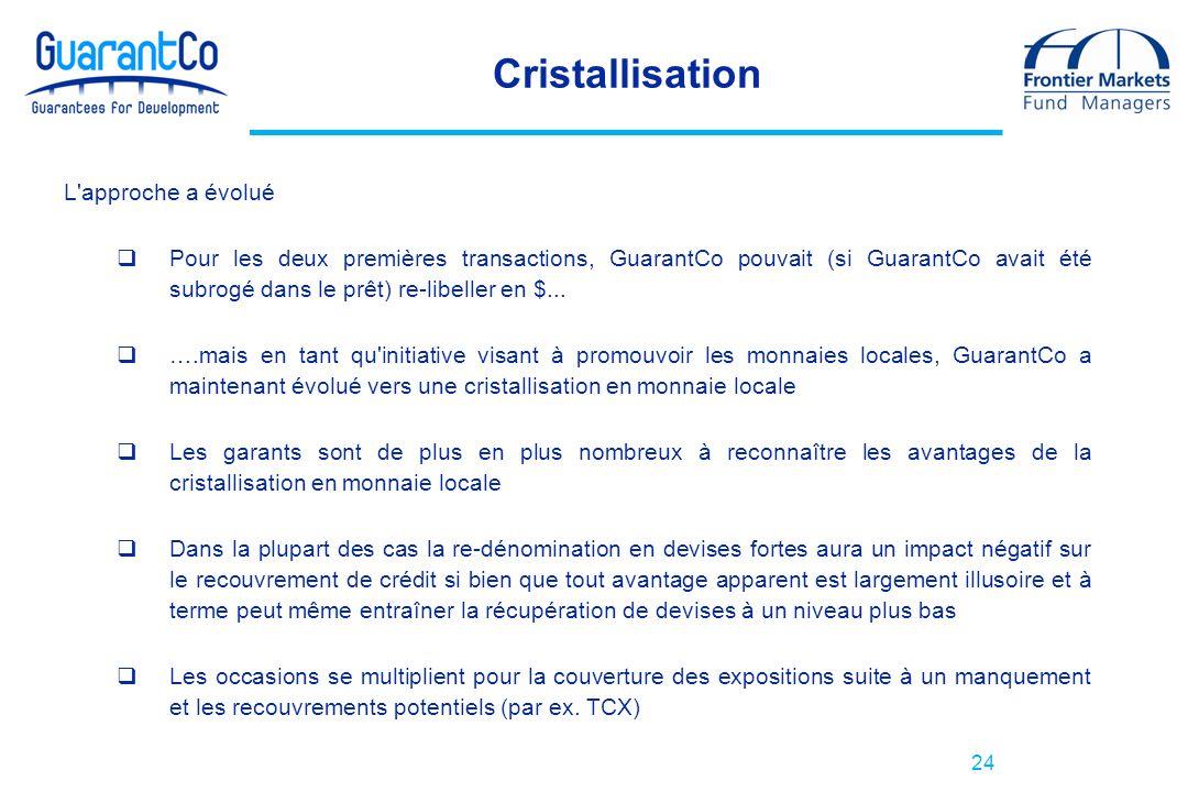 24 Cristallisation L'approche a évolué Pour les deux premières transactions, GuarantCo pouvait (si GuarantCo avait été subrogé dans le prêt) re-libell