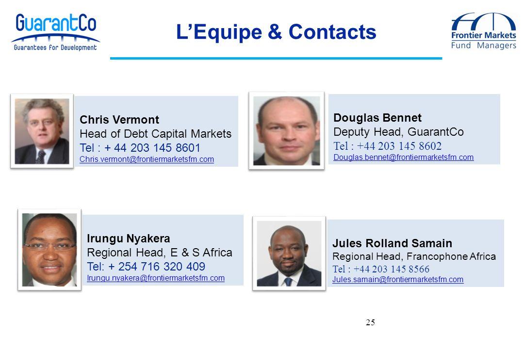25 Chris Vermont Head of Debt Capital Markets Tel : + 44 203 145 8601 Chris.vermont@frontiermarketsfm.com Douglas Bennet Deputy Head, GuarantCo Tel :