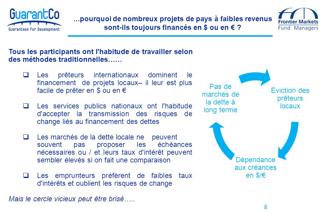 Éviction des prêteurs locaux Dépendance aux créances en $/ Pas de marchés de la dette à long terme 8...pourquoi de nombreux projets de pays à faibles