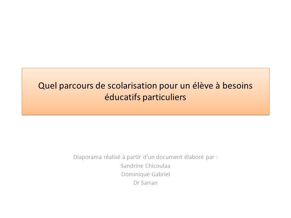Quel parcours de scolarisation pour un élève à besoins éducatifs particuliers Diaporama réalisé à partir dun document élaboré par : Sandrine Chicoulaa Dominique Gabriel Dr Sarran