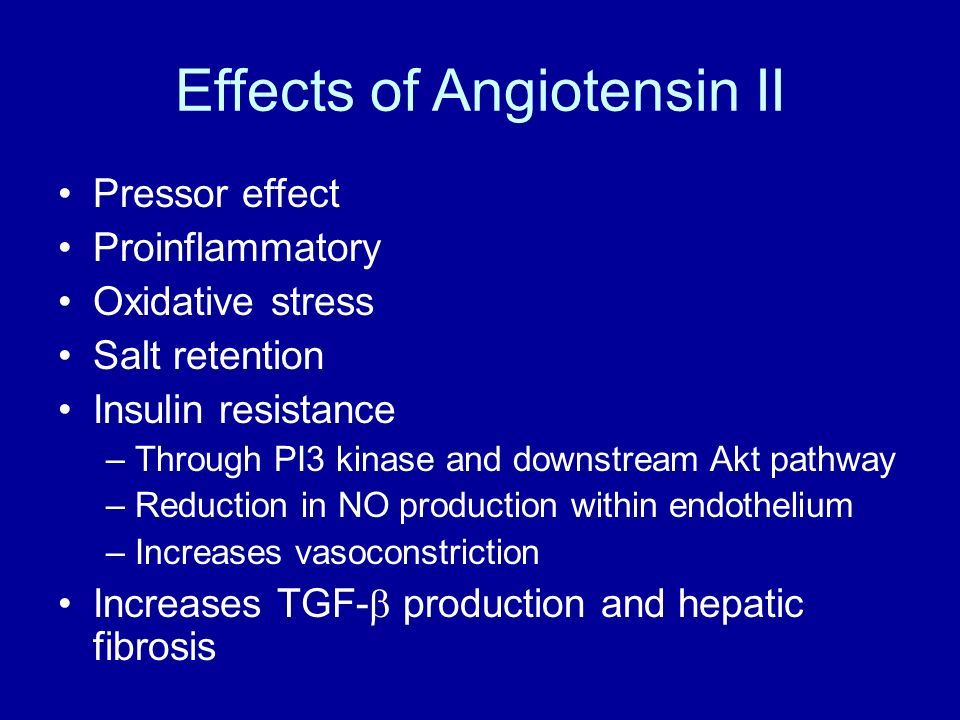 Effects of Angiotensin II Pressor effect Proinflammatory Oxidative stress Salt retention Insulin resistance –Through PI3 kinase and downstream Akt pat