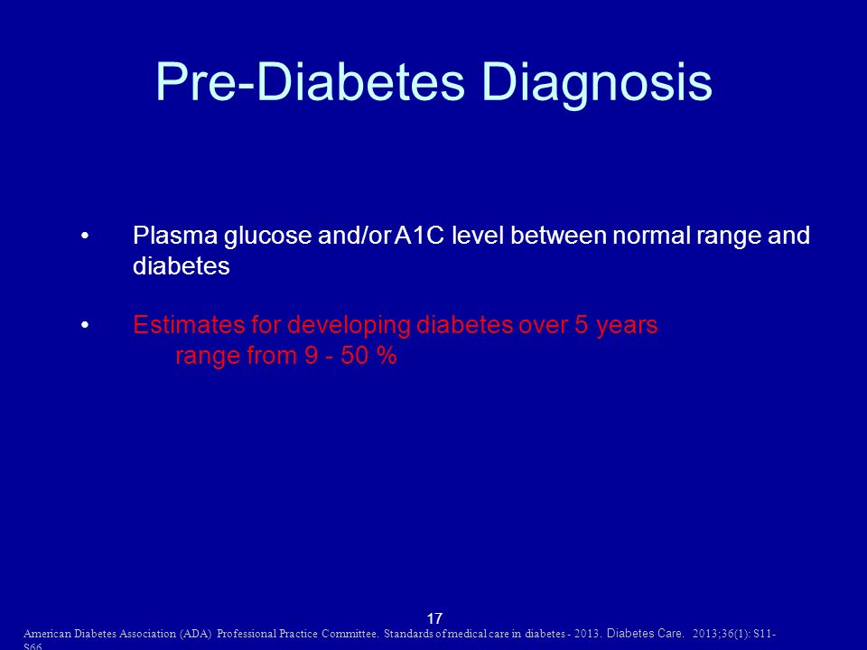 17 Pre-Diabetes Diagnosis Plasma glucose and/or A1C level between normal range and diabetes Estimates for developing diabetes over 5 years range from 9 - 50 % American Diabetes Association (ADA) Professional Practice Committee.