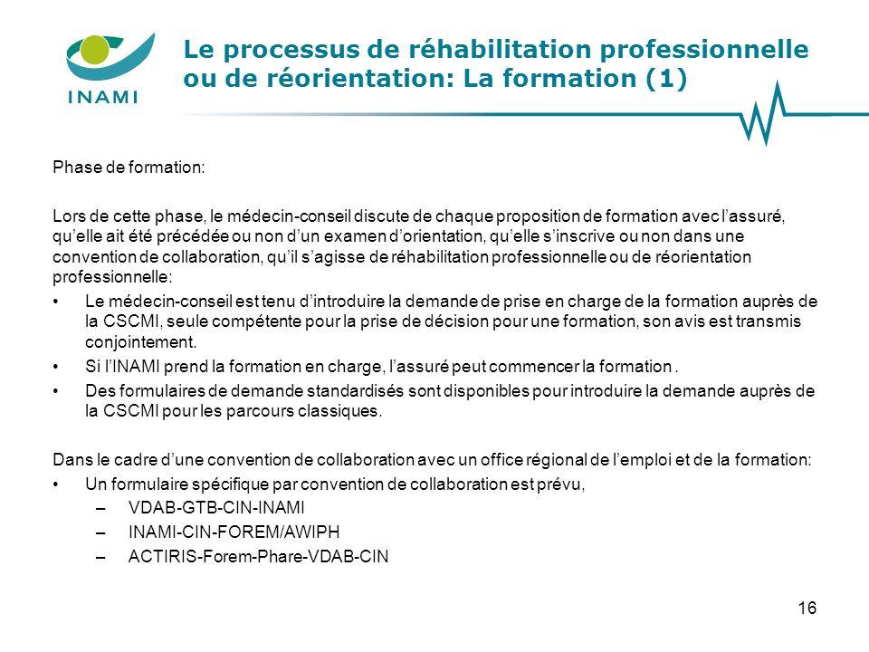 Le processus de réhabilitation professionnelle ou de réorientation: La formation (1) Phase de formation: Lors de cette phase, le médecin-conseil discu