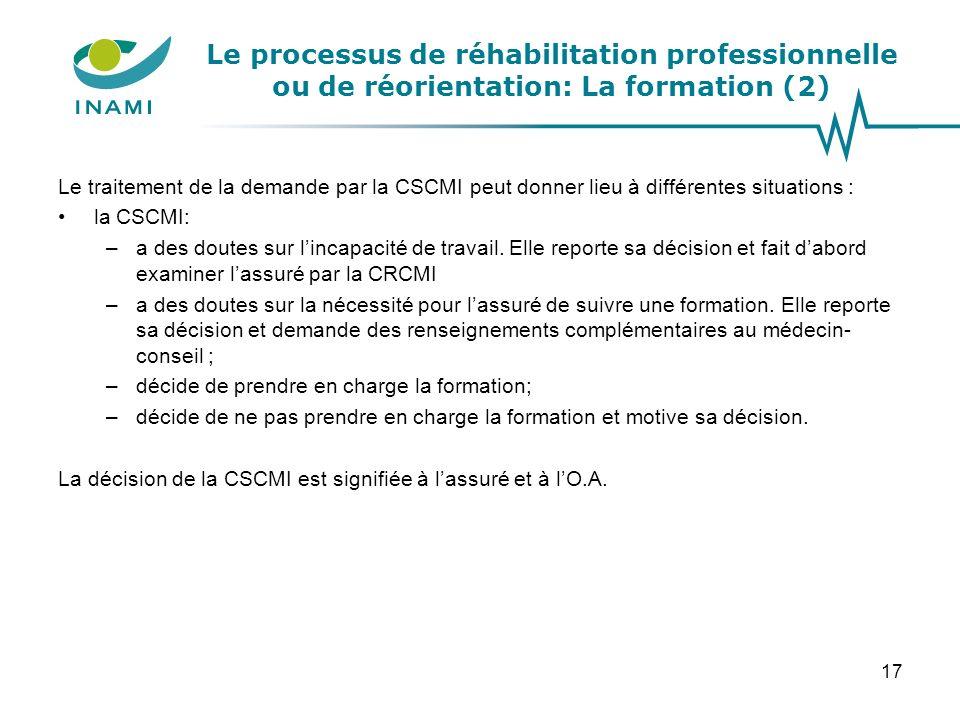 Le processus de réhabilitation professionnelle ou de réorientation: La formation (2) Le traitement de la demande par la CSCMI peut donner lieu à diffé