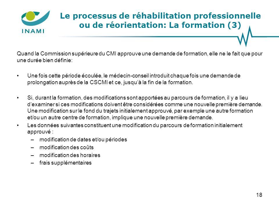 Le processus de réhabilitation professionnelle ou de réorientation: La formation (3) Quand la Commission supérieure du CMI approuve une demande de for