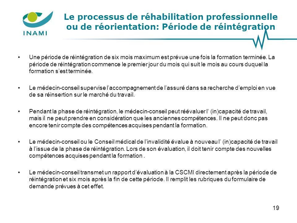 Le processus de réhabilitation professionnelle ou de réorientation: Période de réintégration Une période de réintégration de six mois maximum est prév