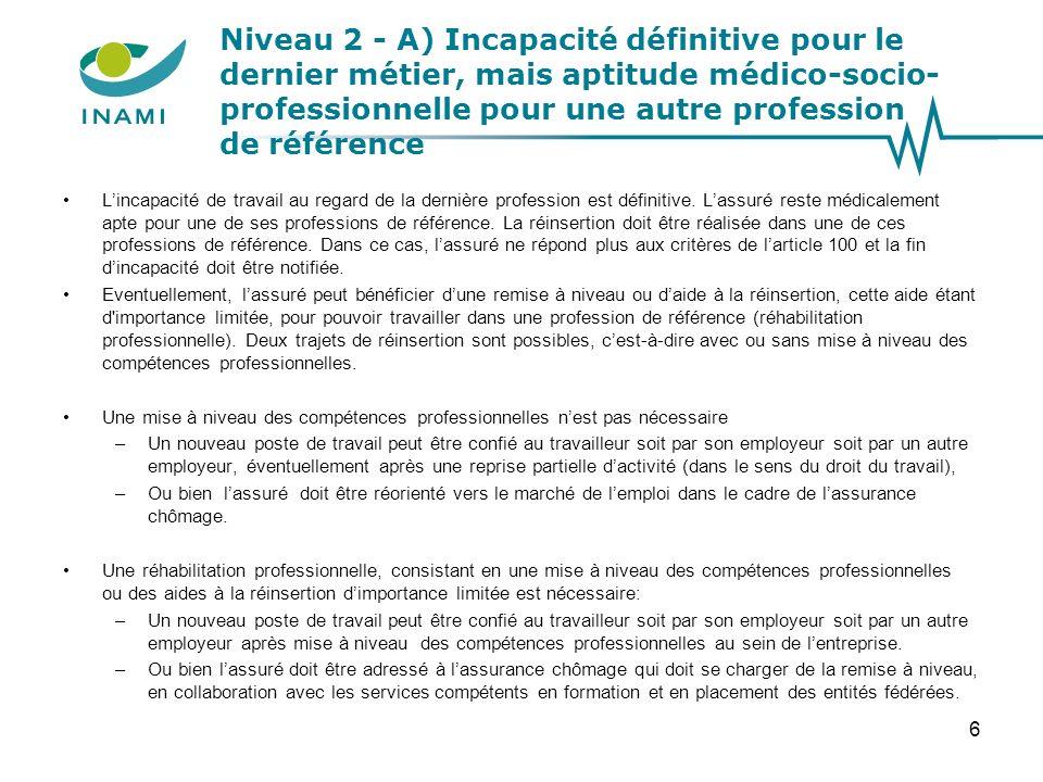 Niveau 2 - A) Incapacité définitive pour le dernier métier, mais aptitude médico-socio- professionnelle pour une autre profession de référence Lincapa