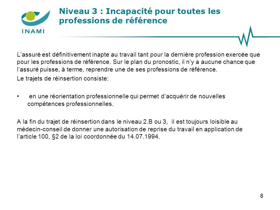 Niveau 3 : Incapacité pour toutes les professions de référence Lassuré est définitivement inapte au travail tant pour la dernière profession exercée q
