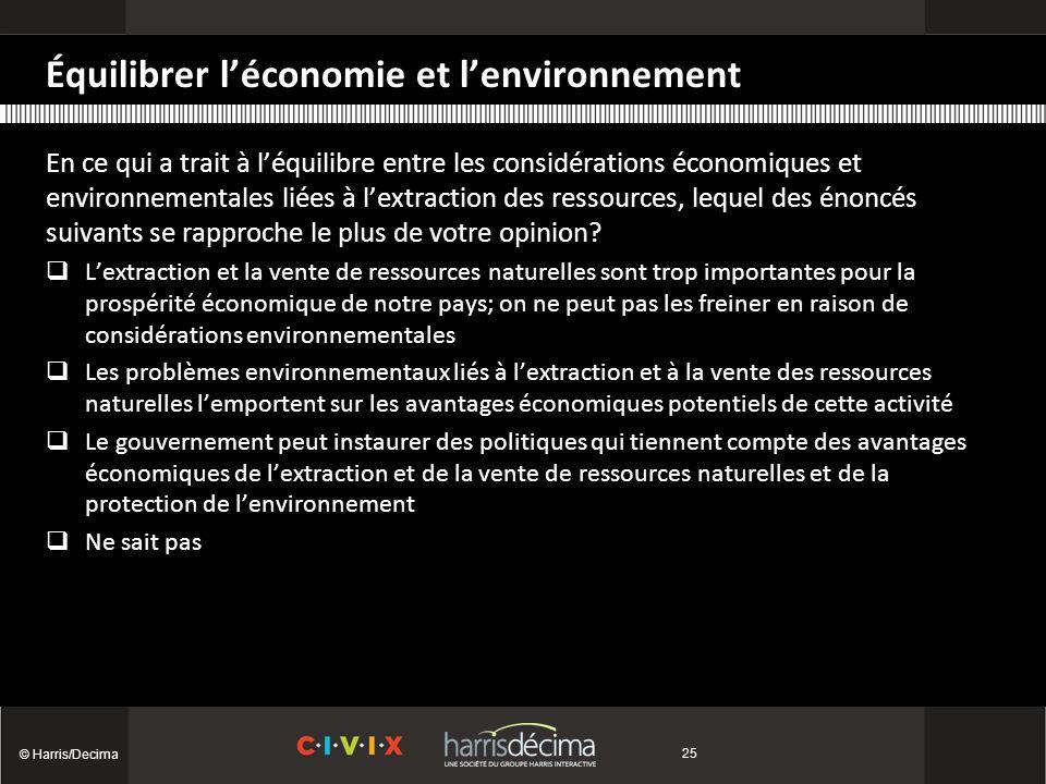 Équilibrer léconomie et lenvironnement © Harris/Decima 25 En ce qui a trait à léquilibre entre les considérations économiques et environnementales liées à lextraction des ressources, lequel des énoncés suivants se rapproche le plus de votre opinion.