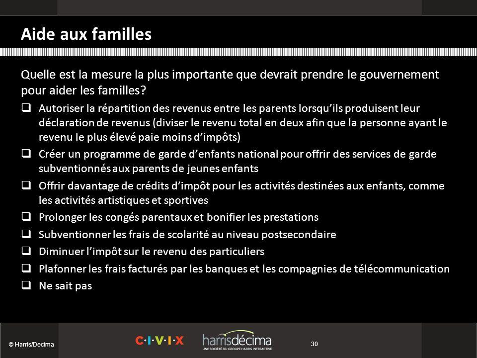 © Harris/Decima 30 Quelle est la mesure la plus importante que devrait prendre le gouvernement pour aider les familles.
