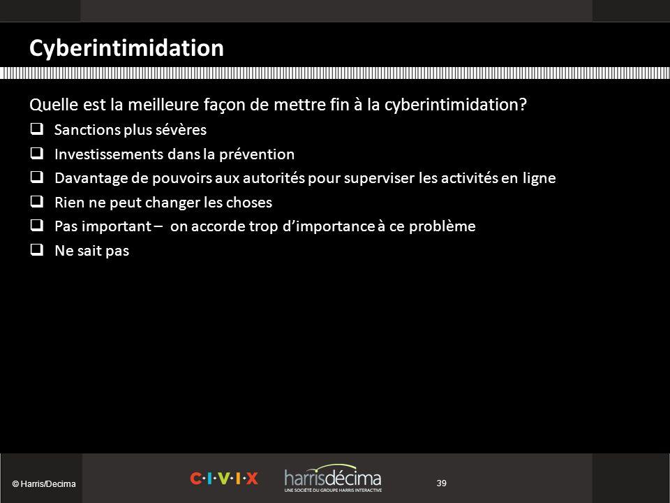 Cyberintimidation © Harris/Decima 39 Quelle est la meilleure façon de mettre fin à la cyberintimidation.