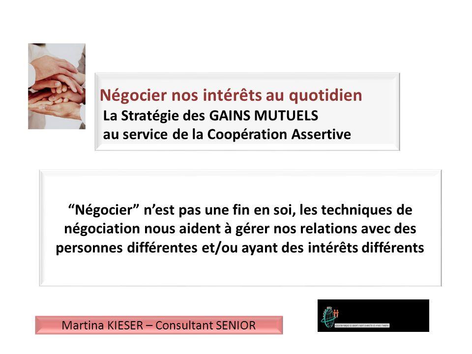 Le Programme 1)Les méthodes de négociation et la « Stratégie des Gains Mutuels » – Les fondamentaux 2)Le Profil du Négociateur 3)La communication assertive 4)Léchange avec les participants