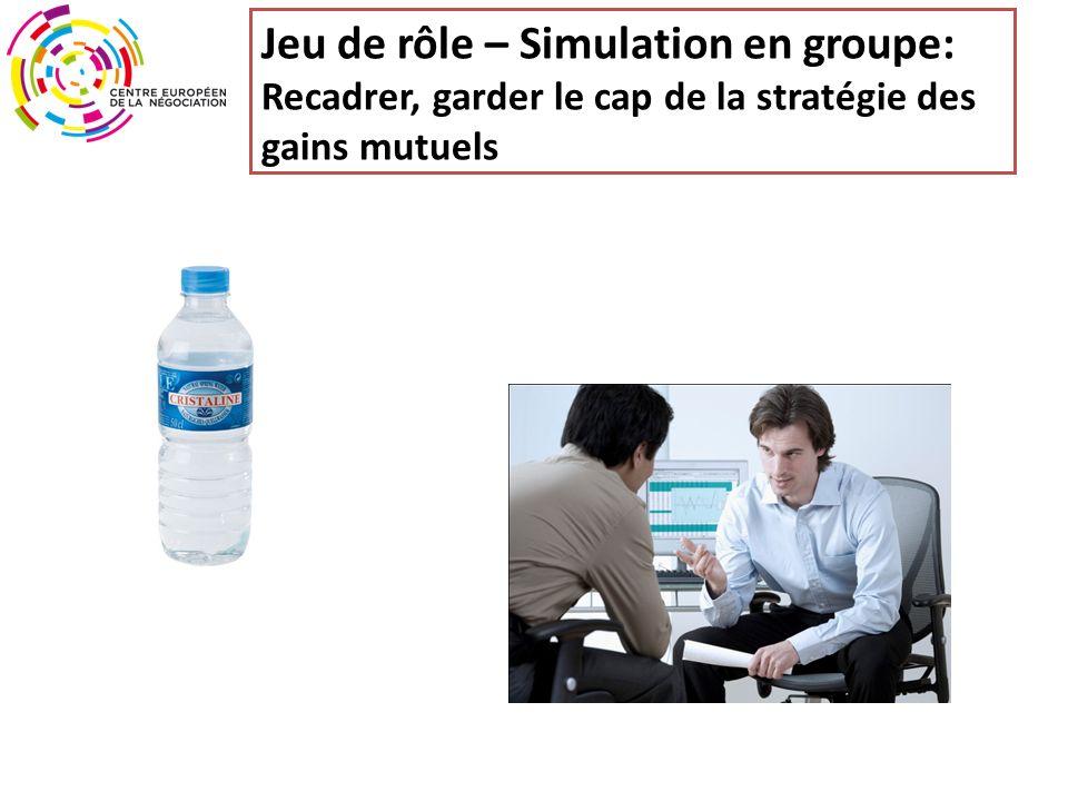 Jeu de rôle – Simulation en groupe: Recadrer, garder le cap de la stratégie des gains mutuels