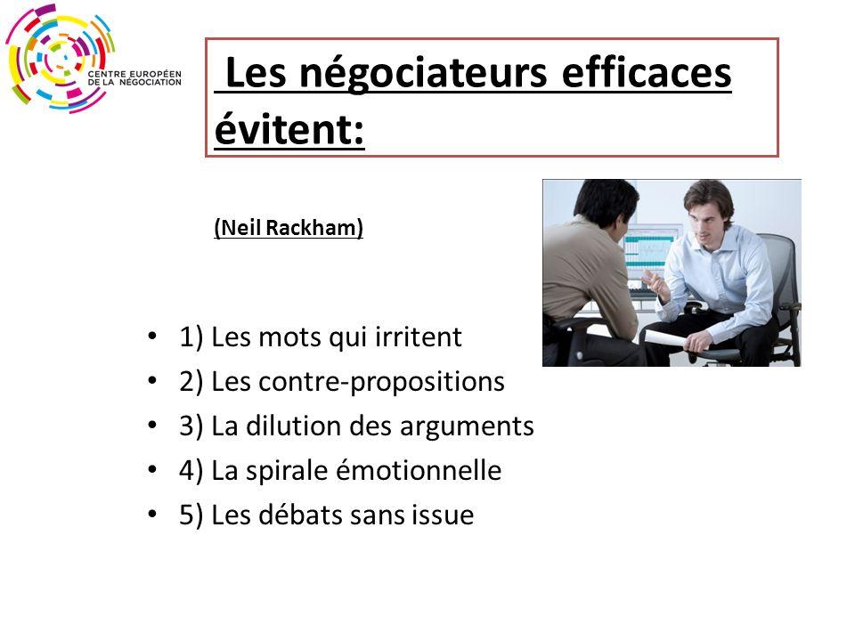 Les négociateurs efficaces évitent: (Neil Rackham) 1) Les mots qui irritent 2) Les contre-propositions 3) La dilution des arguments 4) La spirale émotionnelle 5) Les débats sans issue