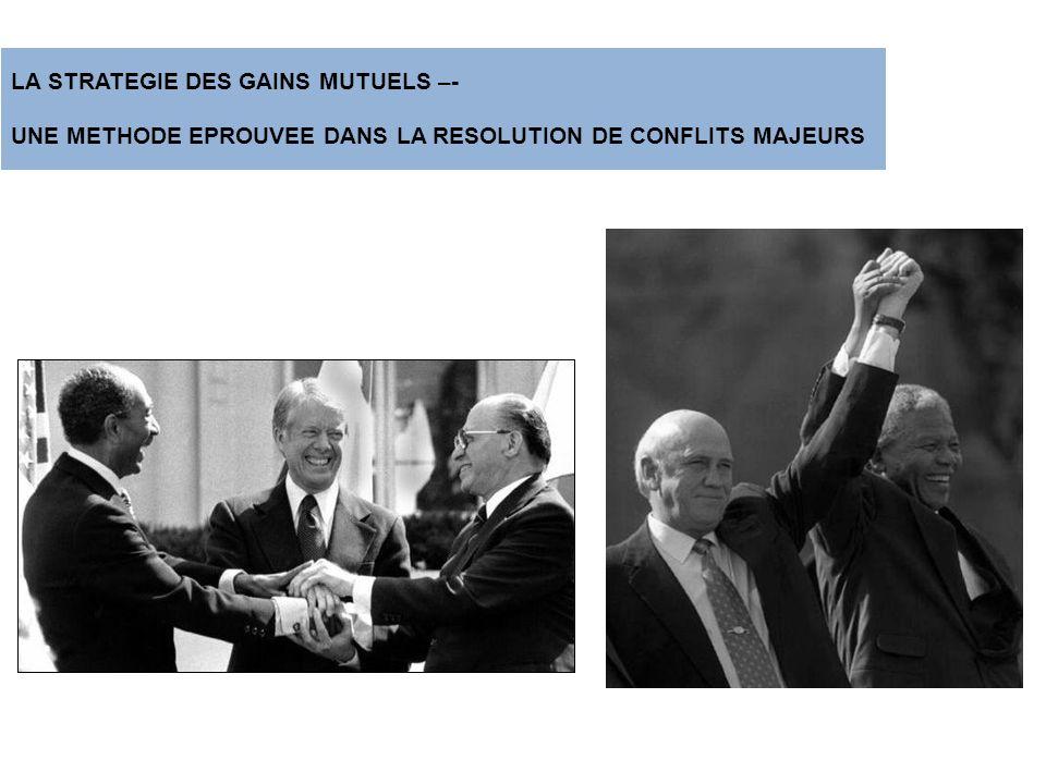 LA STRATEGIE DES GAINS MUTUELS –- UNE METHODE EPROUVEE DANS LA RESOLUTION DE CONFLITS MAJEURS