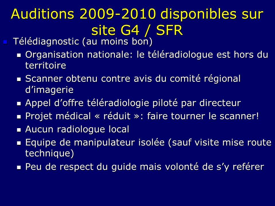 Auditions 2009-2010 disponibles sur site G4 / SFR Télédiagnostic (au moins bon) Télédiagnostic (au moins bon) Organisation nationale: le téléradiologu