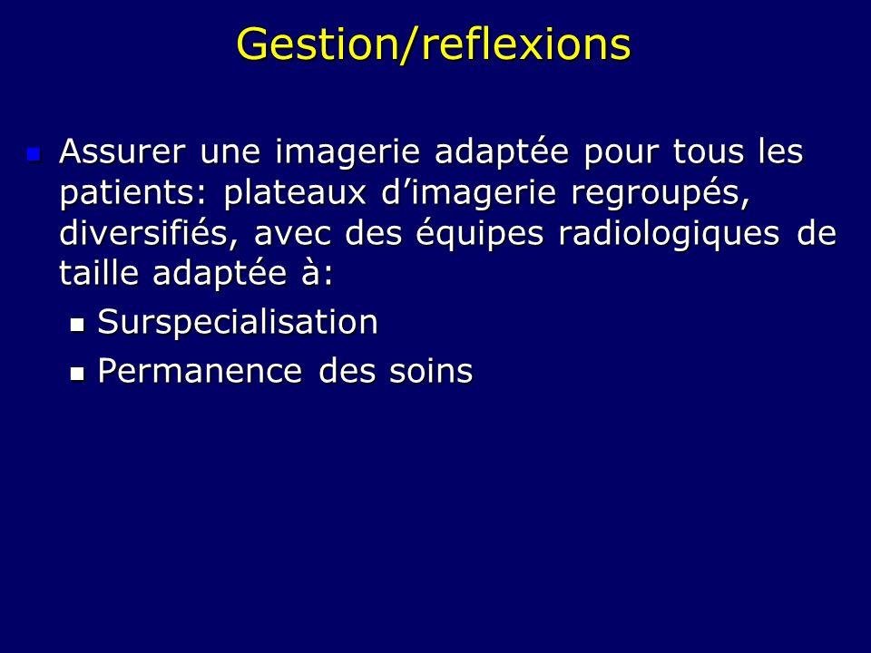 Gestion/reflexions Assurer une imagerie adaptée pour tous les patients: plateaux dimagerie regroupés, diversifiés, avec des équipes radiologiques de t