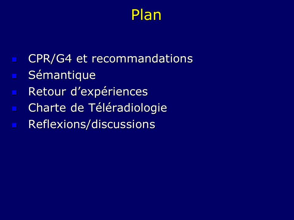 Plan CPR/G4 et recommandations CPR/G4 et recommandations Sémantique Sémantique Retour dexpériences Retour dexpériences Charte de Téléradiologie Charte