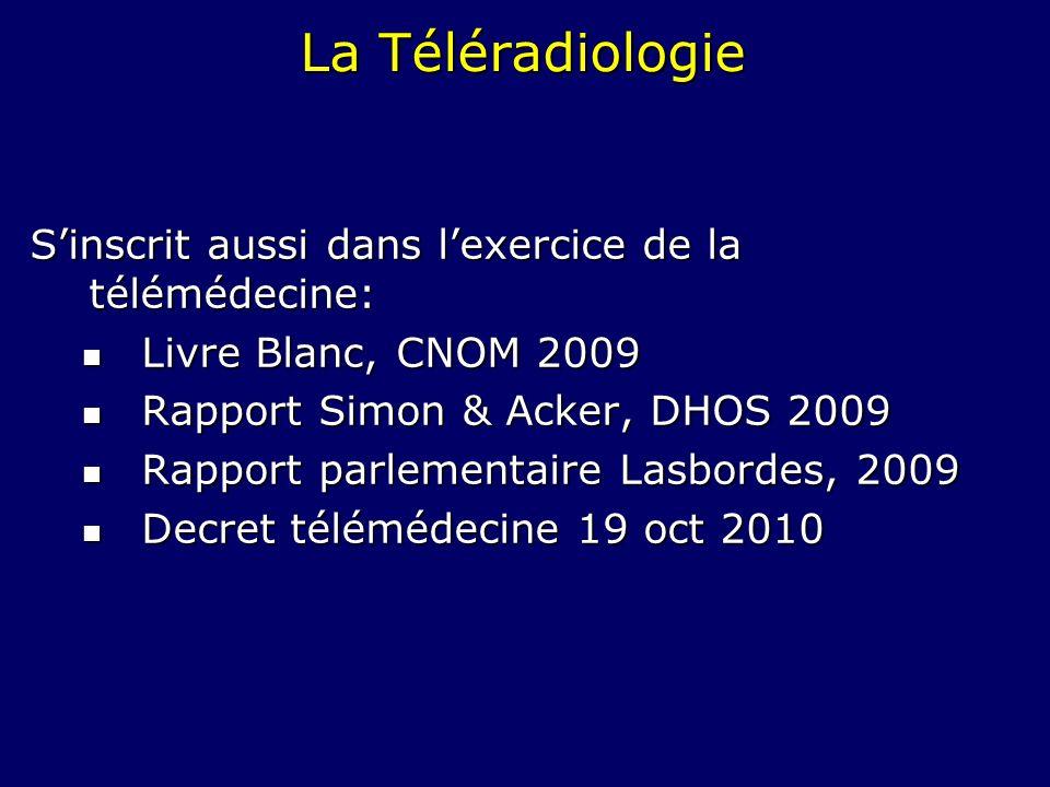 La Téléradiologie Sinscrit aussi dans lexercice de la télémédecine: Livre Blanc, CNOM 2009 Livre Blanc, CNOM 2009 Rapport Simon & Acker, DHOS 2009 Rap