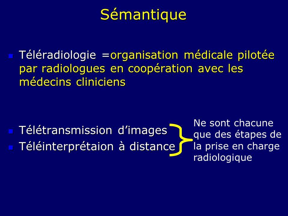 Sémantique Téléradiologie =organisation médicale pilotée par radiologues en coopération avec les médecins cliniciens Téléradiologie =organisation médi