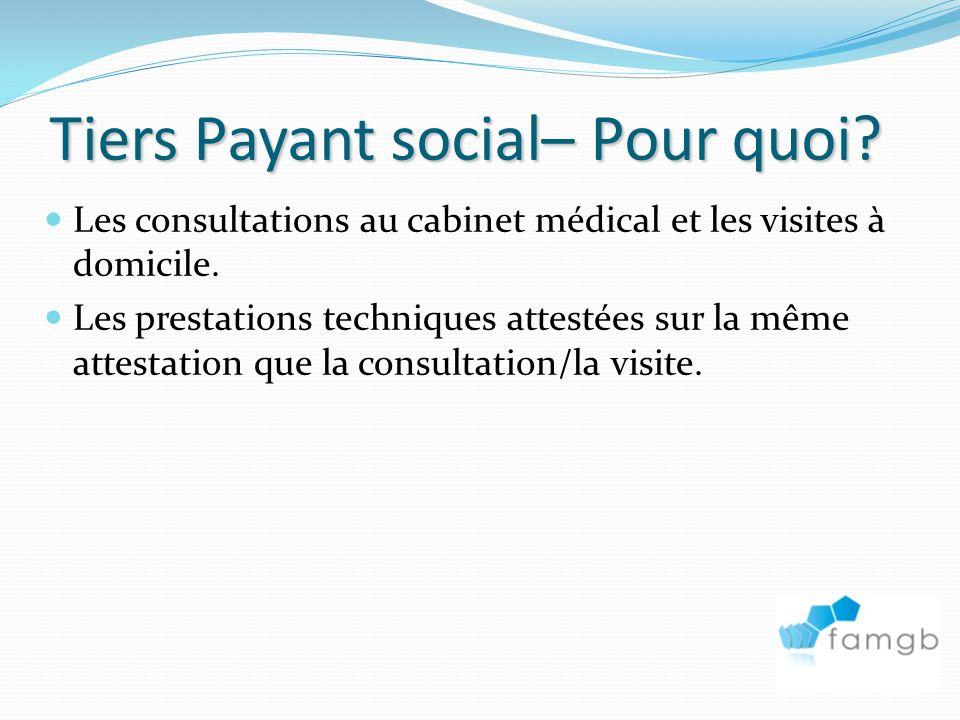 Tiers Payant social– Pour quoi.Les consultations au cabinet médical et les visites à domicile.