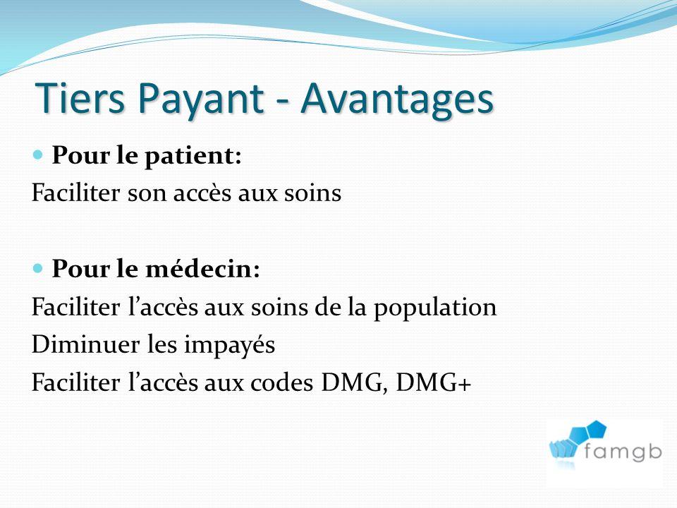 Tiers Payant - Avantages Pour le patient: Faciliter son accès aux soins Pour le médecin: Faciliter laccès aux soins de la population Diminuer les impayés Faciliter laccès aux codes DMG, DMG+