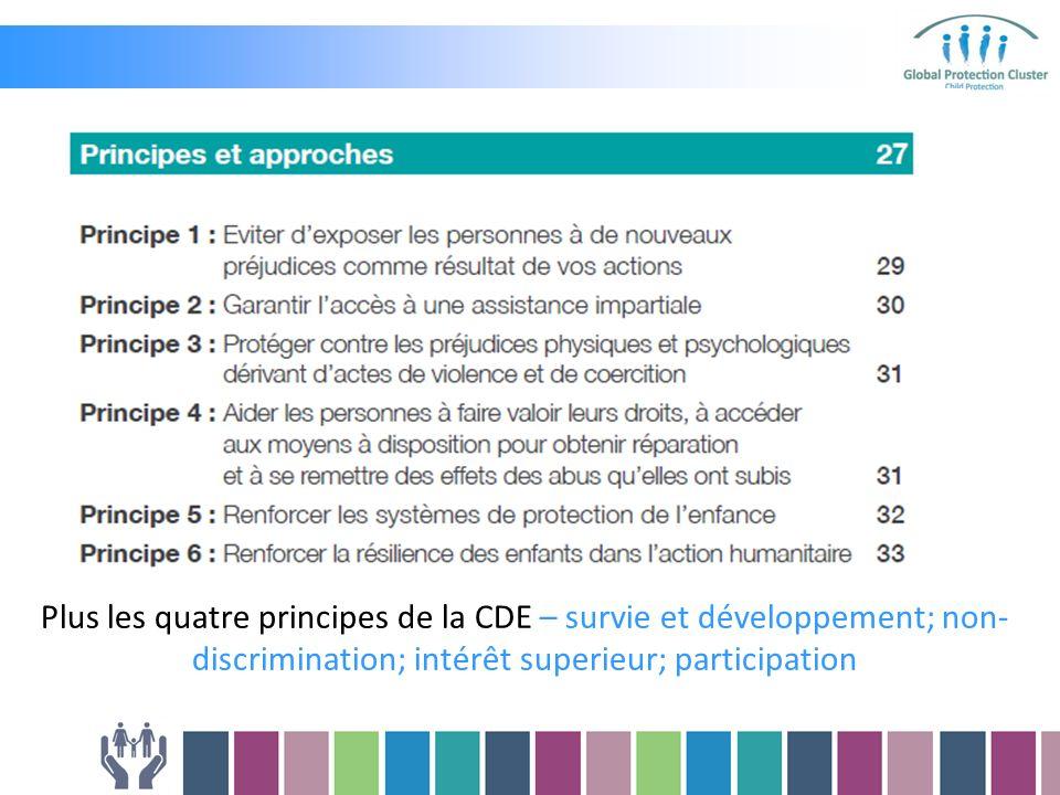 Plus les quatre principes de la CDE – survie et développement; non- discrimination; intérêt superieur; participation